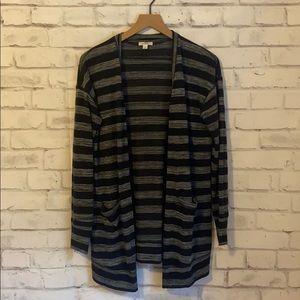 Caslon black & grey striped cardigan
